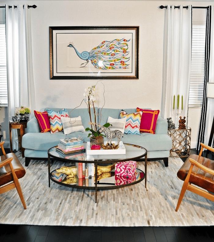 Décorer son salon idée déco salon moderne décoration de séjour tendance tableau cool bleu et blanc