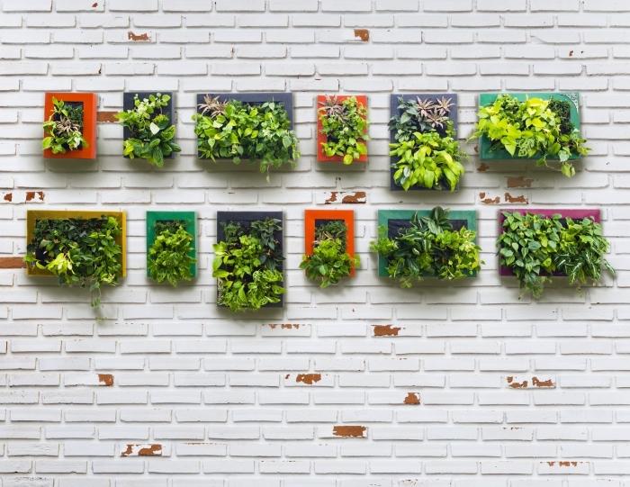 idée originale pour réaliser un jardin vertical miniature pour l'extérieur ou l'intérieur, tableau vegetal de couleur en joli contraste avec le mur en briques blanches