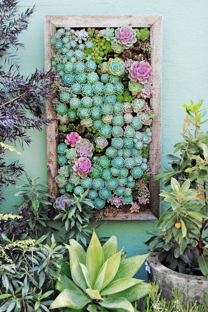 un tableau végétal réalisé avec des plantes succulents variées, fixé au mur du jardin ou de la terrasse pour y créer un joli oasis de verdure
