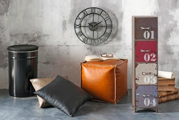 relooking meuble avant après, tabourets et poufs en style arabe marocain, horloge en métal noir ronde, meuble colonne avec des tiroirs casiers aux chiffres de couleurs diverse