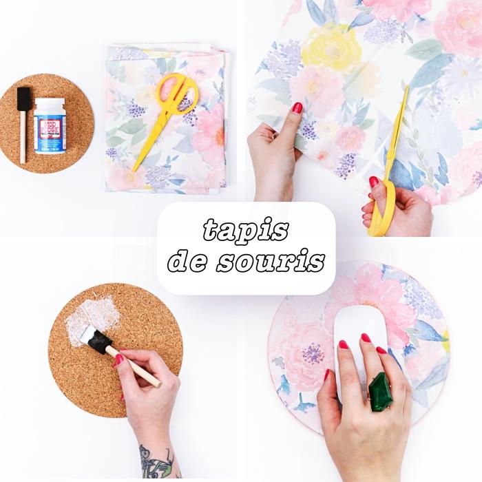 tutoriel pour faire un tapis de souris à design floral, activité manuelle facile et rapide, tapis de souris rond DIY