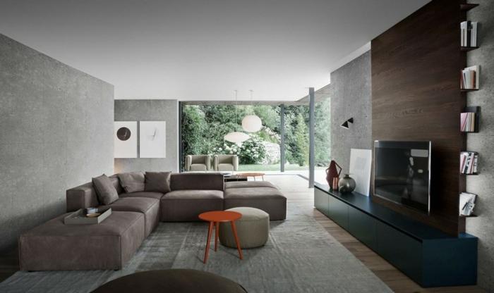 salon couleur gris, canapé modulable, meuble de tv minimaliste, baie vitrée