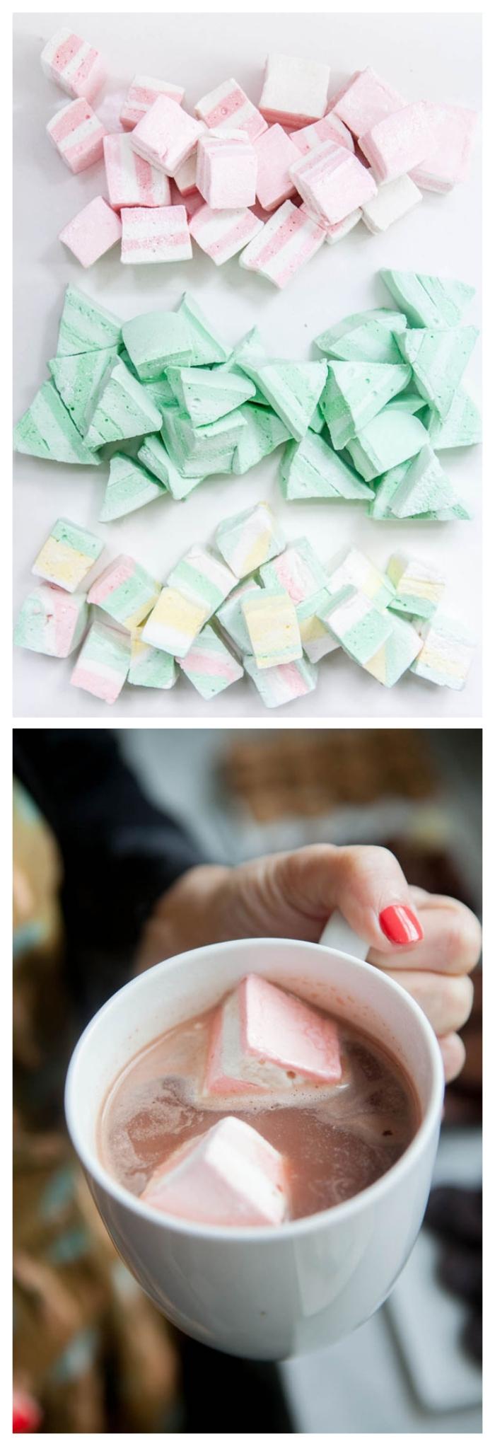 recette de marshmallow ou guimauve maison tendre et fondante, comment faire de la guimauve bicolore