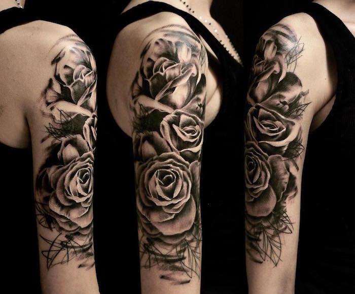 tatouage bras entier et epaule pour femme roses et fleurs en noir et blanc