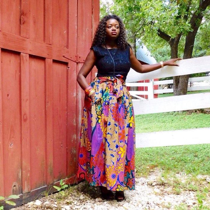 modele jupe pagne ethnique longue colorée type was et ankara maison