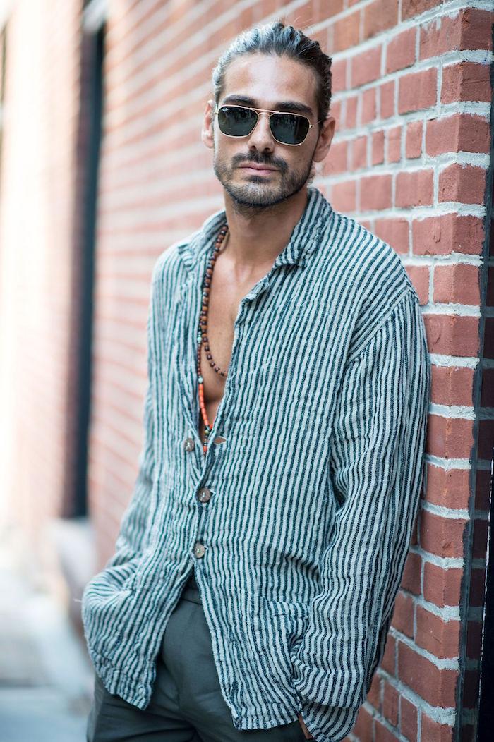vetement style boheme homme été chemise coton ouverte et cheveux longs