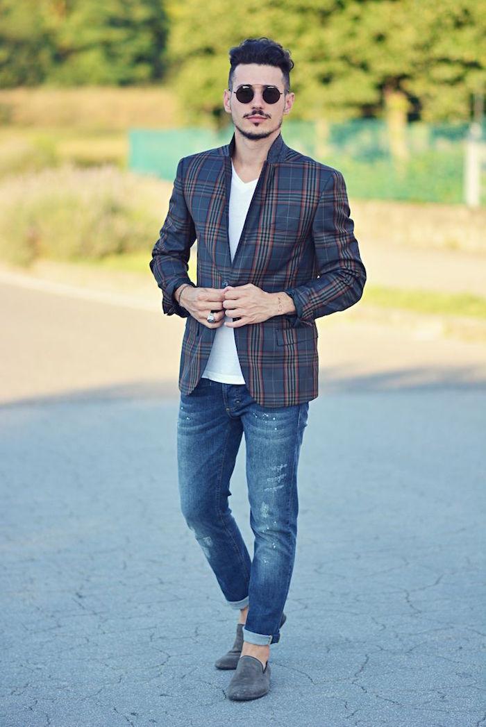 tenue boheme chic homme pour mariage avec veste carreaux et jean slim