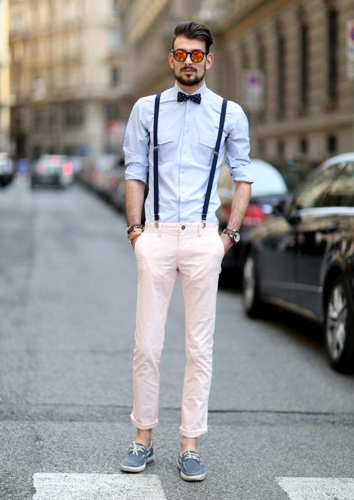 look homme mariage décontracté hipster chino rose pale bretelles et papillon