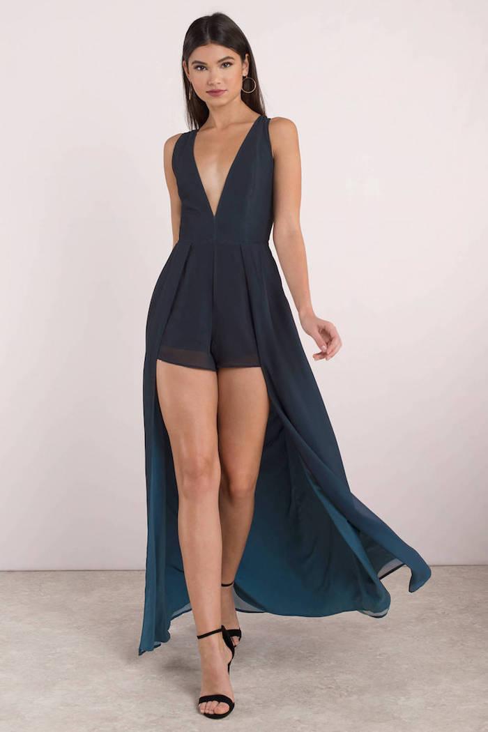 Combishort jupe longue femme chic, combinaison mariage, idée comment s'habiller pour un occasion spéciale, tenue originale