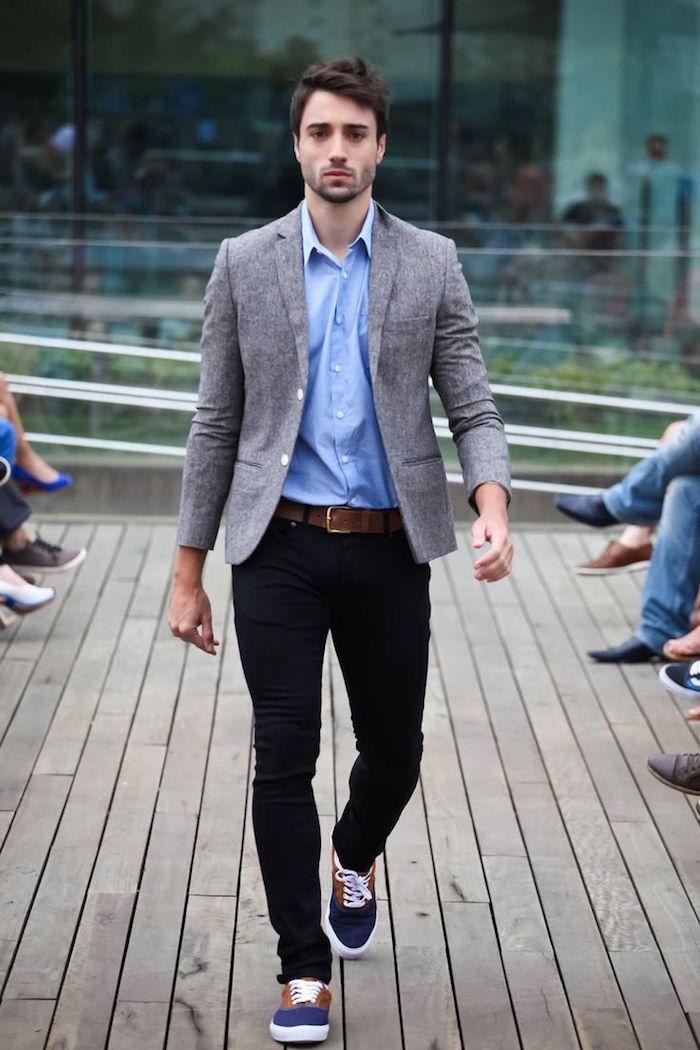 tenue pour assister à un mariage décontracté bobo pantalon noir slim veste grise chemise bleue