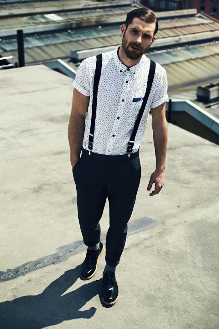 tenue de mariage homme décontracté à la mode style hipster avec chemise manches courtes et bretelles