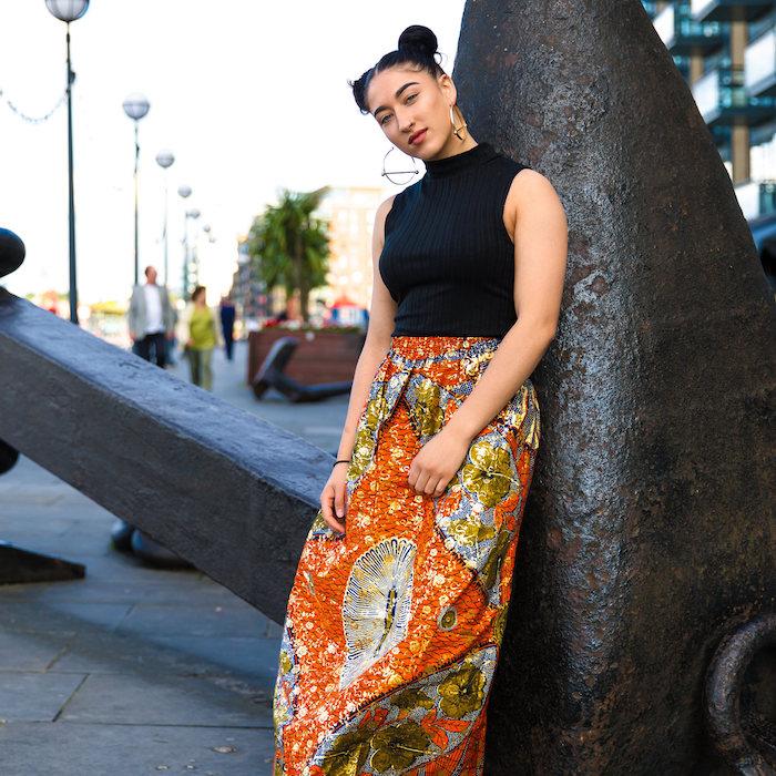 vetement wax femme longue jupe pagne ankara orange avec top noir