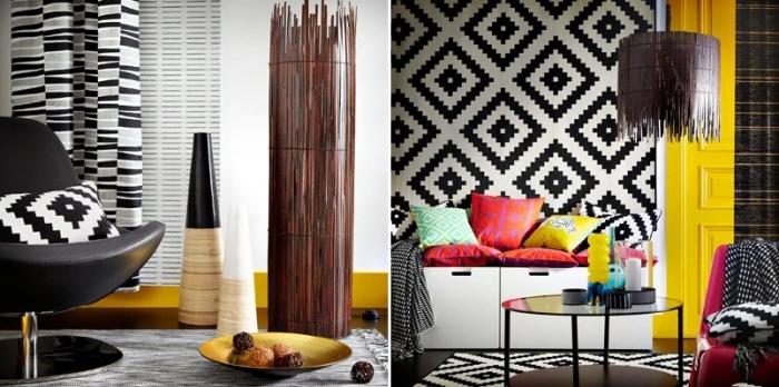 pièce aménagée en style moderne et traditionnel, deco ethnique chic dans un salon aux murs à design graphique blanc et noir