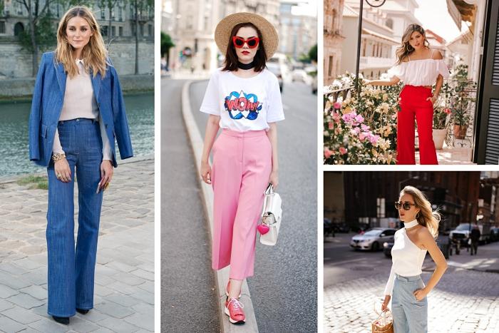 exemple de pantalon fluide femme été à porter avec t-shirt ou top crop, tenue casual chic en pantalon rose pastel et t-shirt avec imprimé WOW