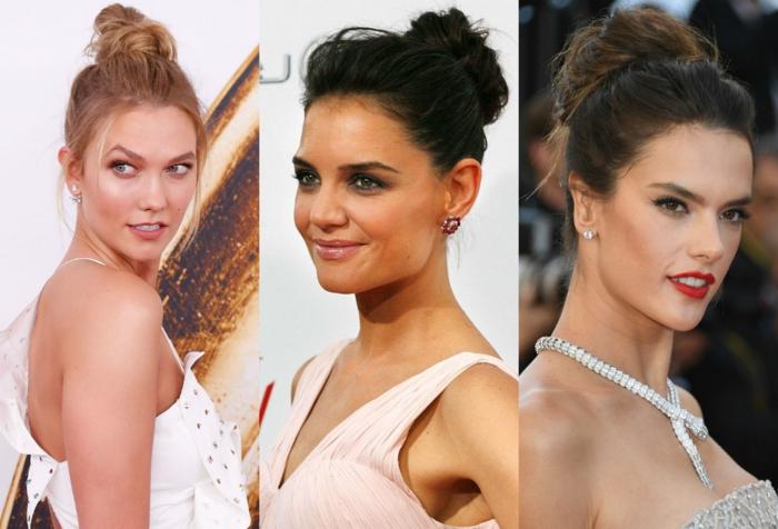 tenues officielles de trois jolies femmes, coiffures chignons classy et flous