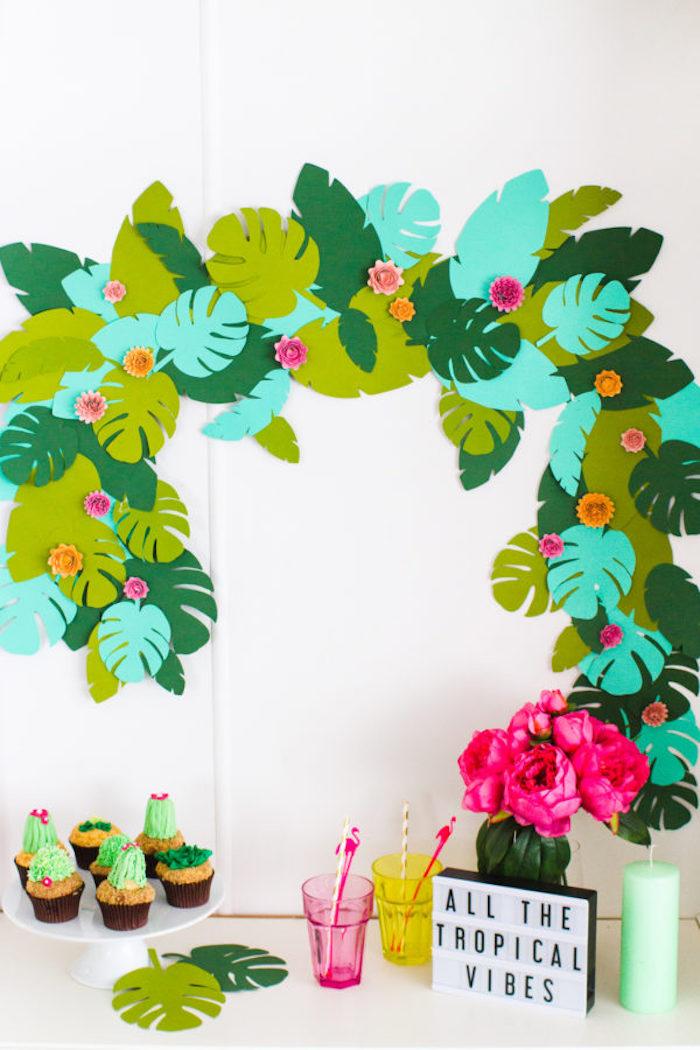Deco a faire soi meme deco anniversaire fille simple et rapide deco d anniversaire coller des feuilles tropiques sur le mur pour creer une arche