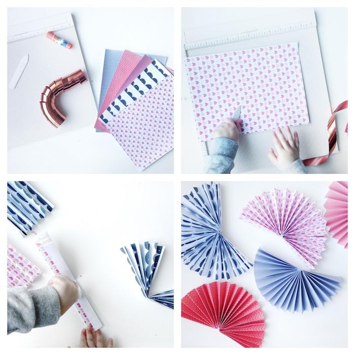 tutoriel bricolage enfant pour fabriquer un éventail en papier coloré, fabrication guirlande diy simple