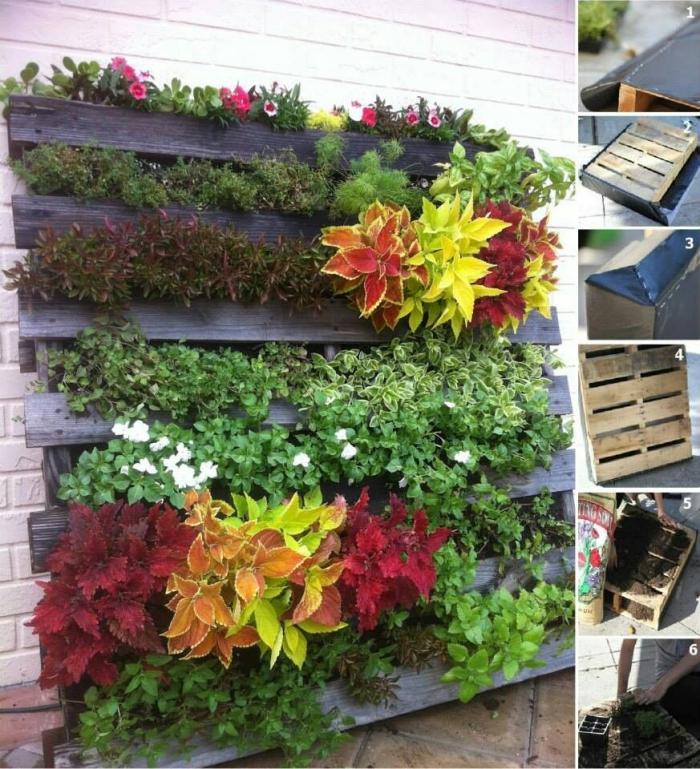 tuto facile pour réaliser un mur vegetal en palette avec de la bâche de plantation, jardin vertical diy réalisé en peu de temps avec des plantes fixées entre les planches de la palette