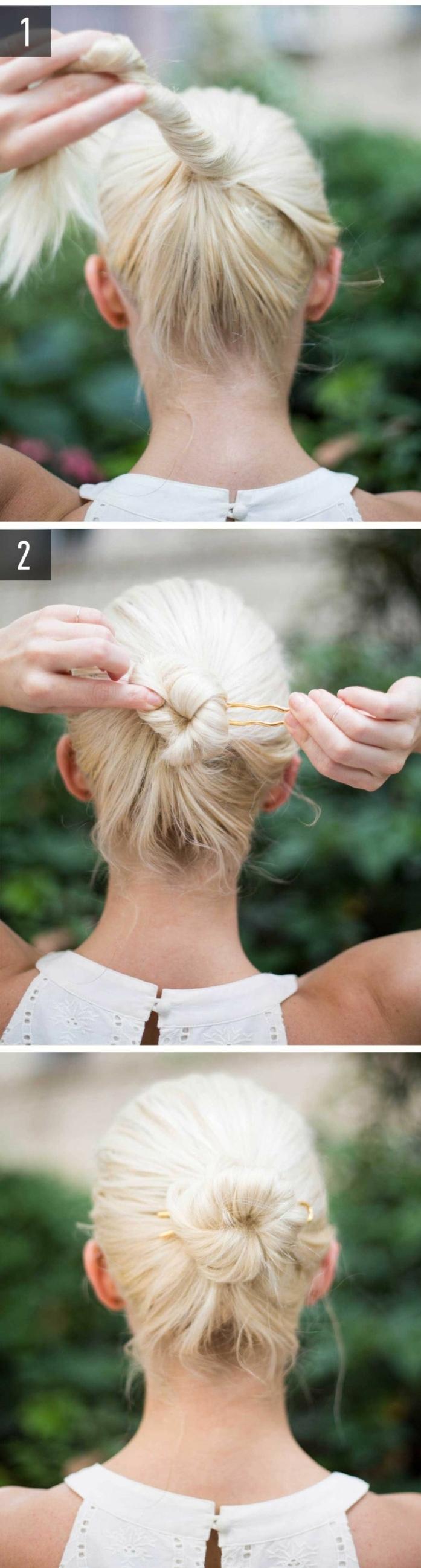chignon facile, cheveux blonds, messy bun avec des tresses facile et rapide
