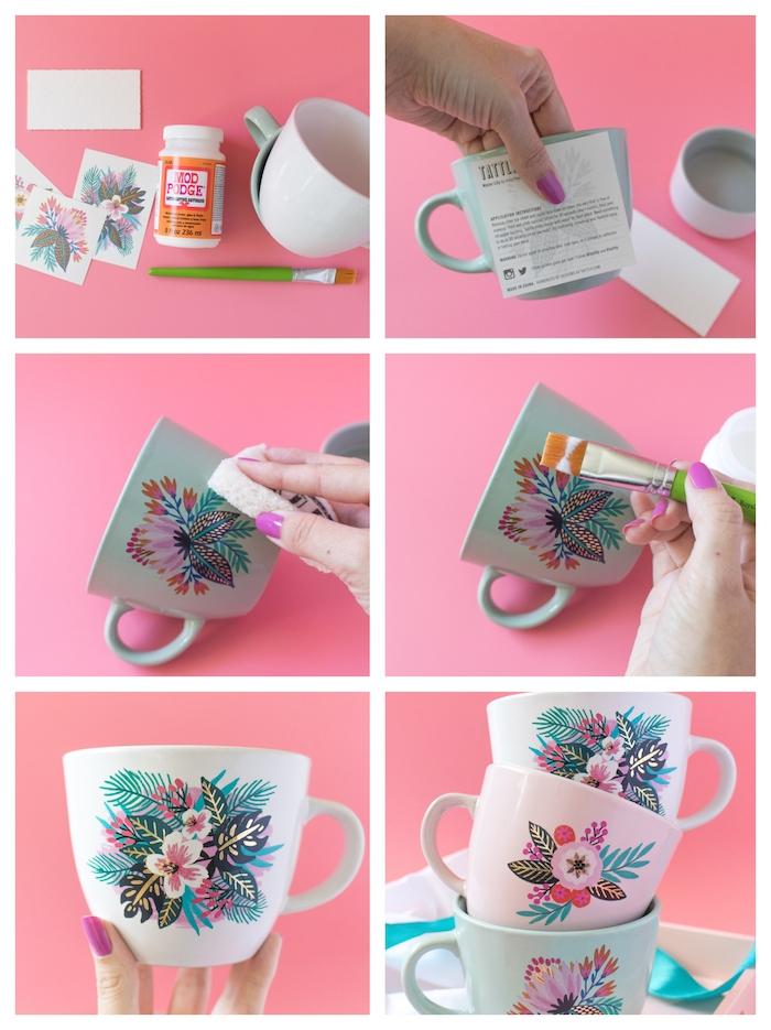 tasse à thé personnalisée de tatouage temporaire, cadeau a faire soi meme, quoi offrir à sa meilelure amie