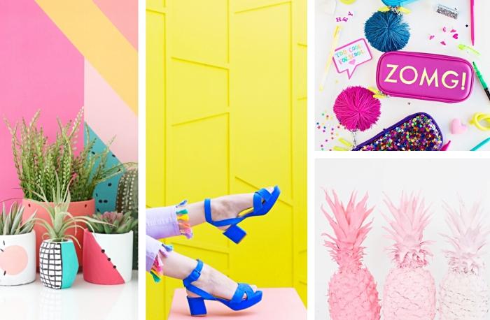 idée activité manuelle pour filles, exemple de jeans violets personnalisés avec déco en pompons, figurines ananas colorés en rose