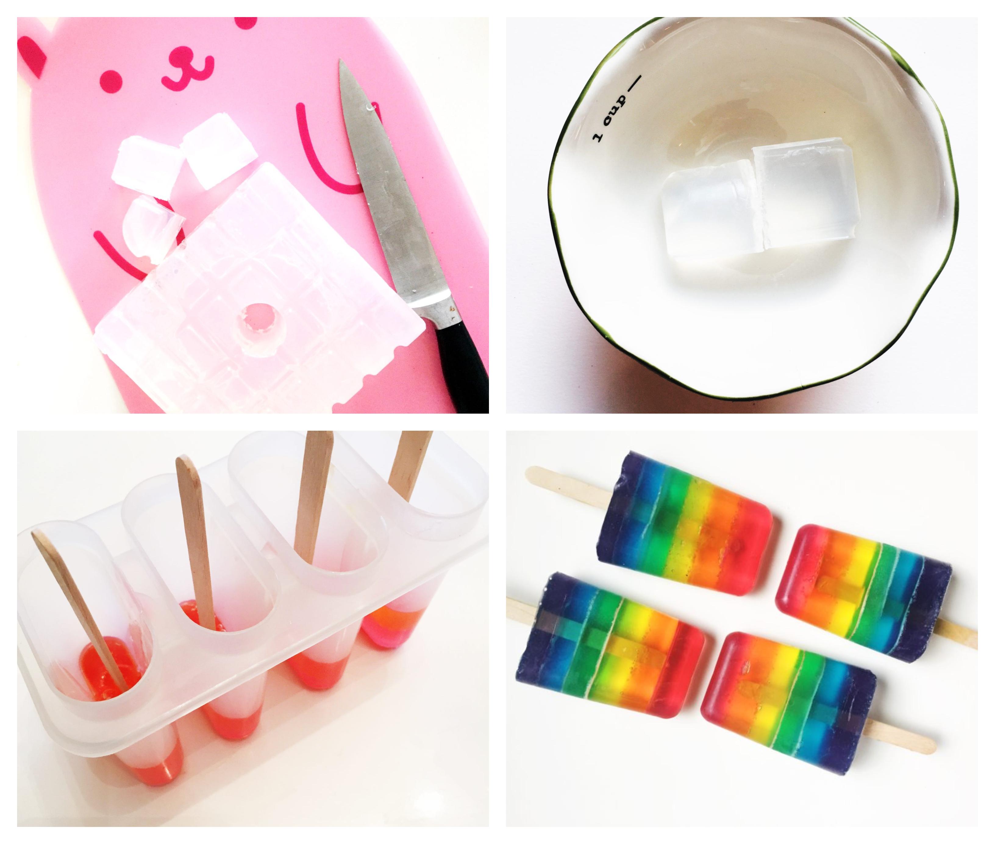 tuto pour fabriquer son savon soi meme dans un moule à glace, savons en forme de glace avec des couches colorées semi transparentes