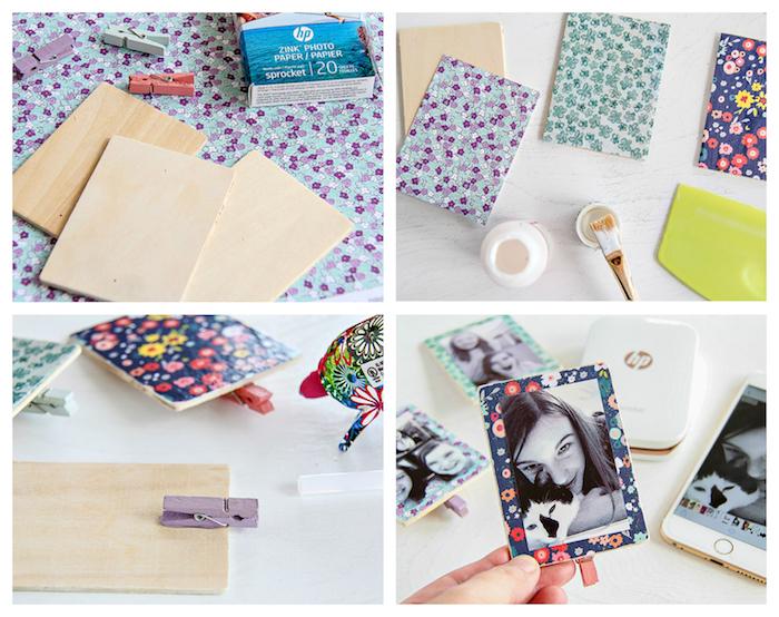 idée cadeau soeur ou meilleure amie, panneaux en bois à décorer de papier scrapbooking coloré avec une photo meilleure amie dessus et pince à linge pour accrocher