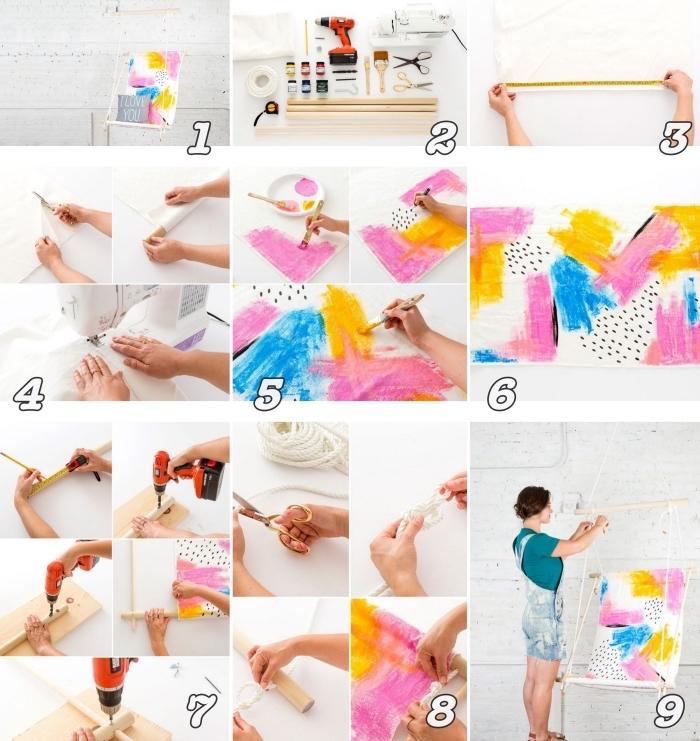 étapes à suivre pour apprendre comment fabriquer une chaise suspendue à design coloré, idées loisirs créatifs adultes