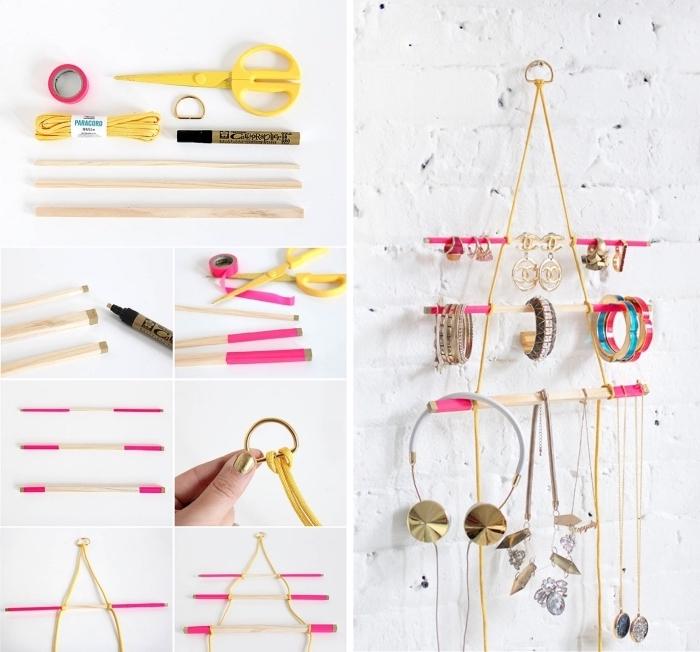 organiseur de bijoux et accessoire DIY, modèle de rangement bijoux fait maison en bois et corde, tutoriel pour fabriquer un organiseur bijoux