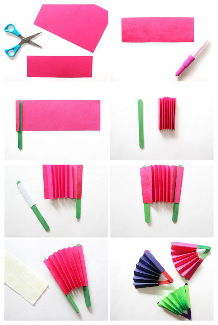 comment faire un éventail en papier rose, batonnets de glace décorés de peinture verte, tuto activité manuelle primaire