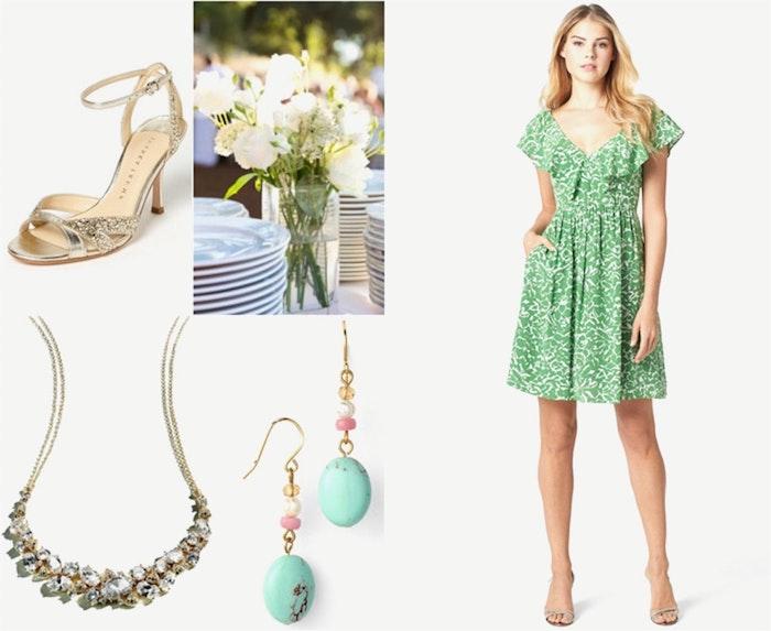 Tenue mariage invitee femme robes originales habillées robe légère d'été robe bleu et blanc fleurie courte mignonne sandales dorées
