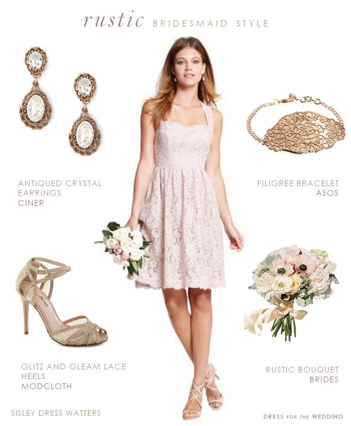 Robe champetre chic mariage champetre tenue belle idée tenue confortable robe dentelle rose col bustier coeur cool idée accessoires et bouquet