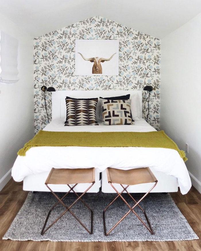 Deco chambre adulte mansardee, boheme chic déco petite chambre adulte, hygge decoration moderne