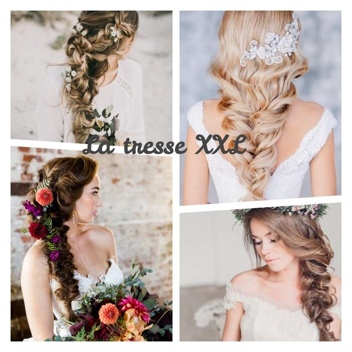 comment faire une coiffure mariage tresse avec une tresse volumineuse XXL, décoré de bijou ou fleurs fraiches