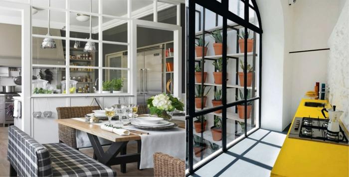 verriere d'atelier, deux verrières délimitant la cuisine et la salle à manger et comptoir jaune