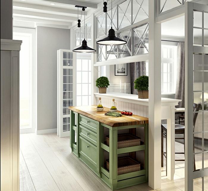 cuisine style loft verriere d'atelier, deux lampes pendantes noires, pots de fleurs avec plantes