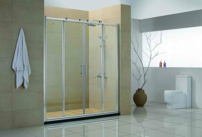 verriere salle de bain, verriere douche, zone douche, porte verriere, carrelage blanc sol et mural en ivoire, salle de bain avec verrière