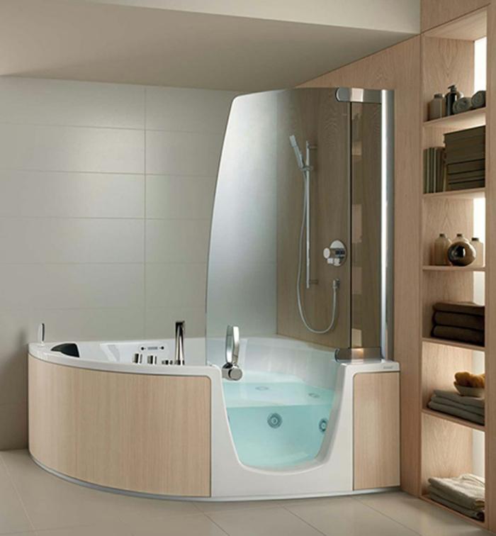 verriere salle de bain, verriere douche, porte verriere, jacuzzi semi-transparent, dalles en beige, carrelage mural en gris, étagères en beige, plafond en blanc crème