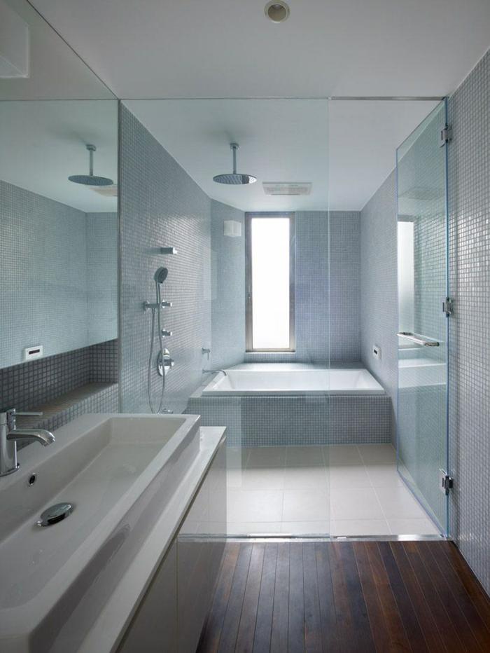 cloison verriere, porte verriere, verriere douche, salle de bain avec verrière, sol avec parquet e couleur cerise, verriere salle de bain