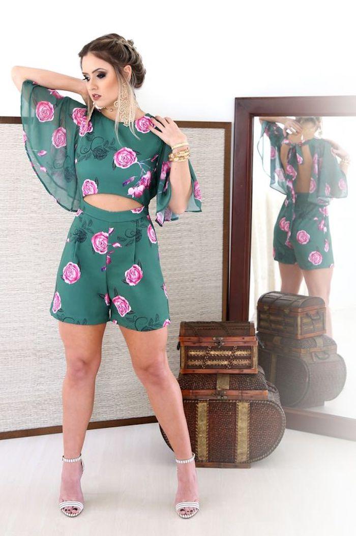 Tenue d'été combinaison de soirée pour mariage bohème, combinaison chic femme, combishort vert fleurie