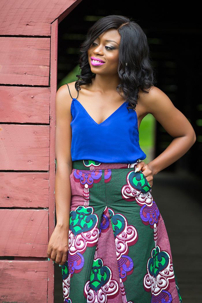 jupe motif ethnique imprimé wax vert bordeaux haut bleu roi femme