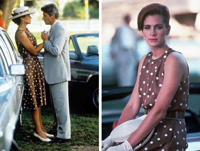 Julia Roberts avec une robe guinguette pointillée, cadres du film Pretty woman
