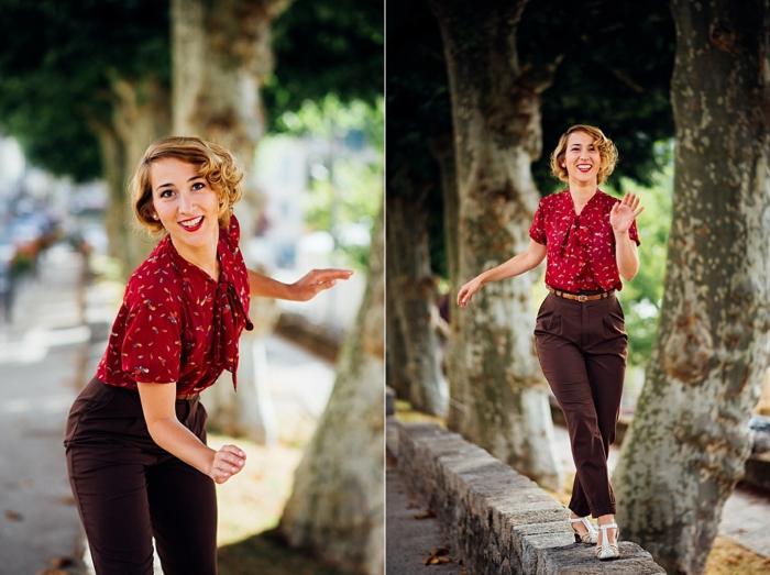 vetement annee 60, tenue casuelle, shirt rouge, pantalon maron, sandales blanches