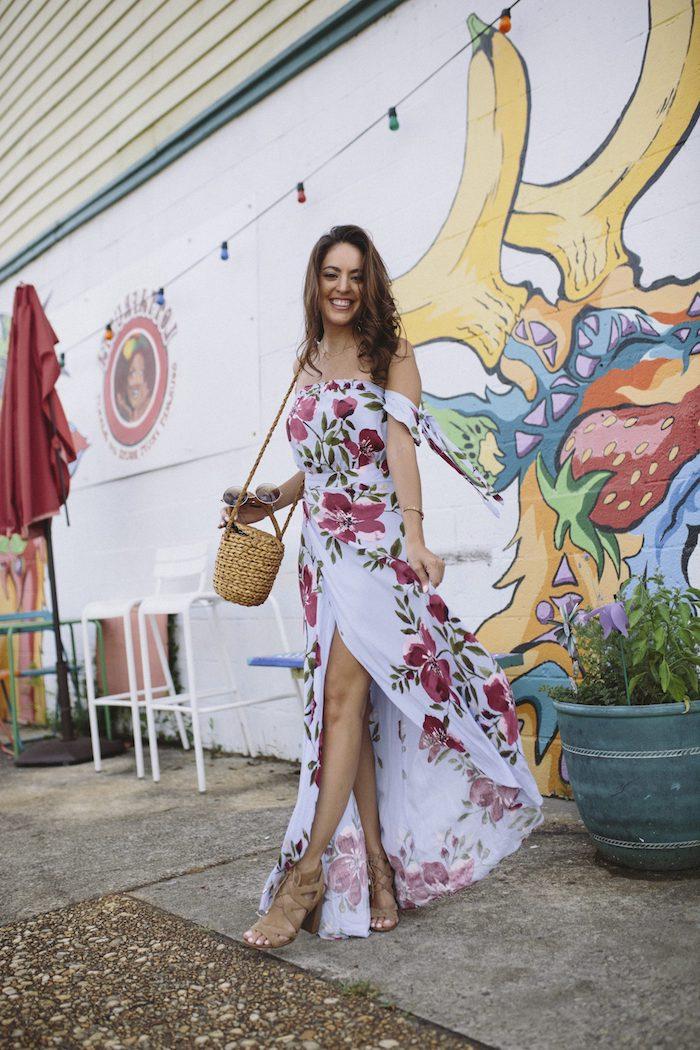 Look champetre femme robe champêtre chic tenue vintage fluide été robe décontracté chic robe longue fleurie fendue