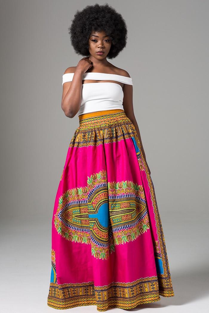 jupe longue style pagne wax motif imprimé africain indien rose