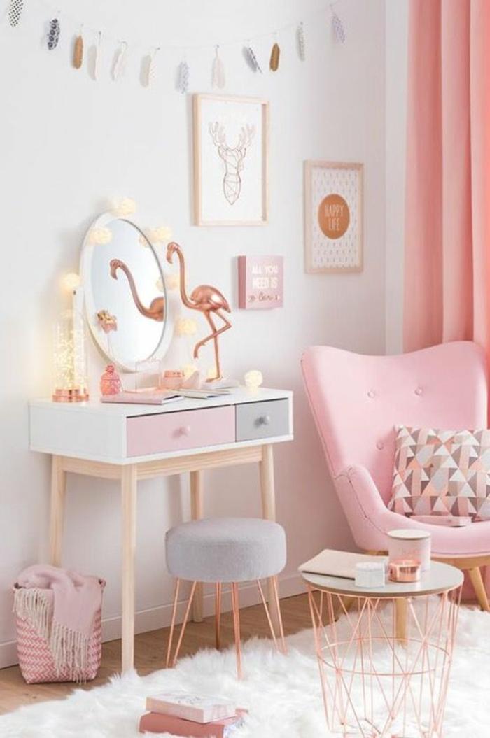 couleur rose pale dans une chambre de jeune femme, meuble de chevet en blanc, rose et gris, chambre rose et gris, murs blancs, fauteuil en tissu rose aux pieds en bois clair