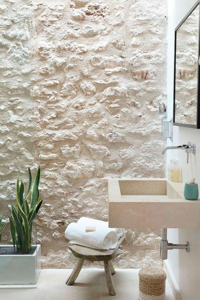 salle de bain 5m2, salle de bain blanche, salle de bain nature, modele carrelage salle de bain, salle de bain zen et chaleureuse