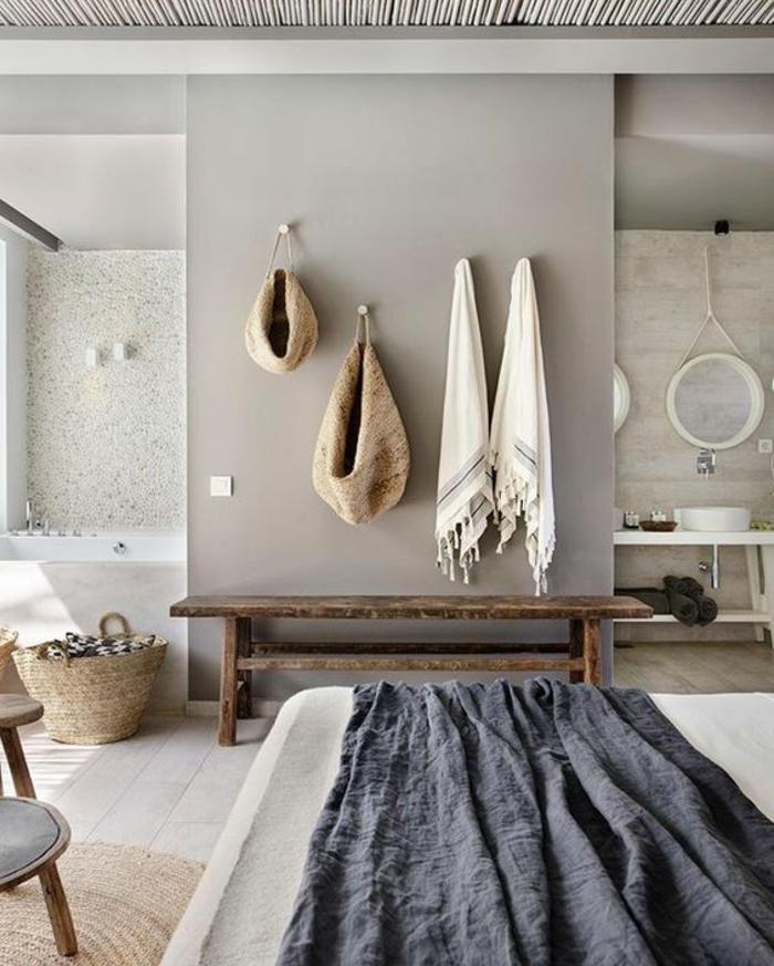 idee salle de bain, salle de bain zen et chaleureuse, decoration petite salle de bain, déco salle de bain zen, murs gris pastel, carrelage gris clair