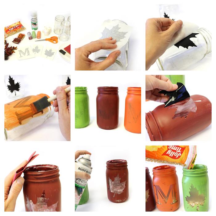activité manuelle automne, pots en verre repeints de peinture acrylique ou à la craie avec motif feuille morte ou lettre
