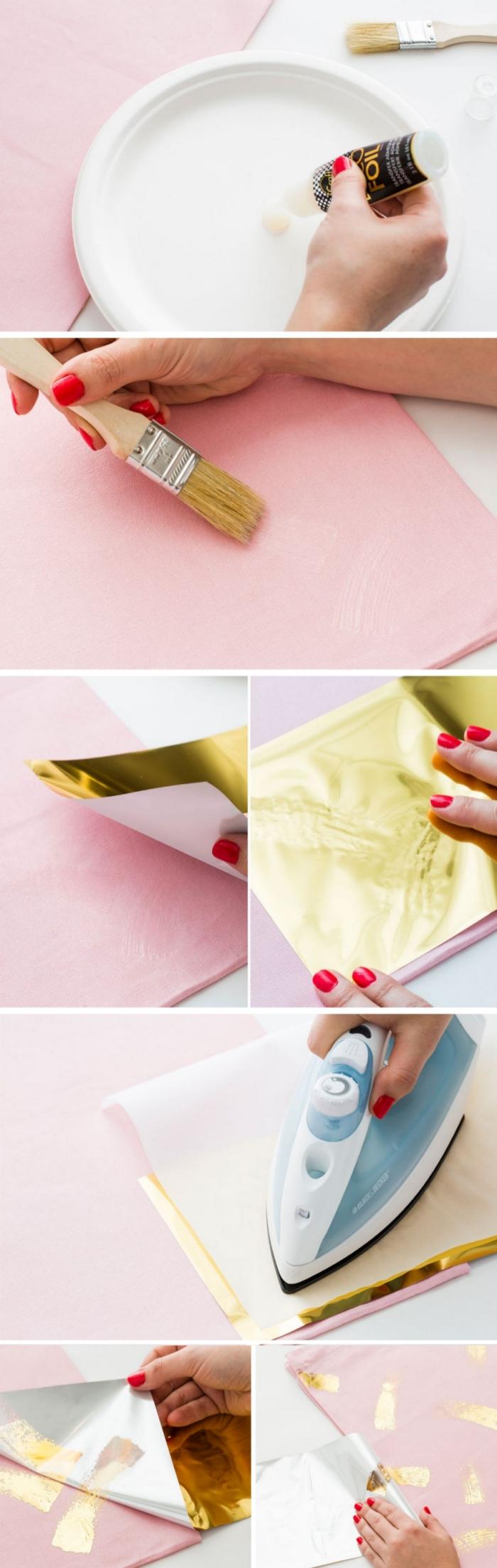 idée pour tuto couture ou déco de sac cabas facile, utiliser une feuille métallique pour faire des jolies déco sur un tissu